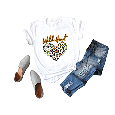 Wild Heart Print Shirts Women Leopard Print Short Sleeve Valentines Day Tops Tees for Love at Amazon Women's Clothing store
