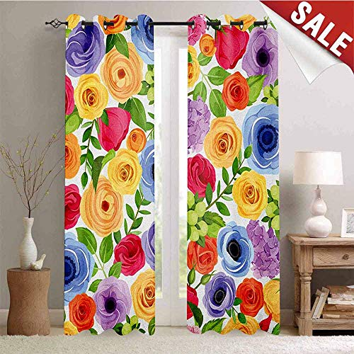 Anemone Flower, Waterproof Window Curtain, Ornate Colorful Fresh Flowers of Summer Season Forest with Green Leaves, Room Darkening Wide Curtains, W96 x L108 Inch Multicolor