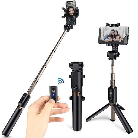 CHEREEKI Bluetooth Selfie Stick Stativ, 3 in 1 Erweiterbar Monopod Wireless Selfie Stange Stab 360°Rotation mit Bluetooth Fer