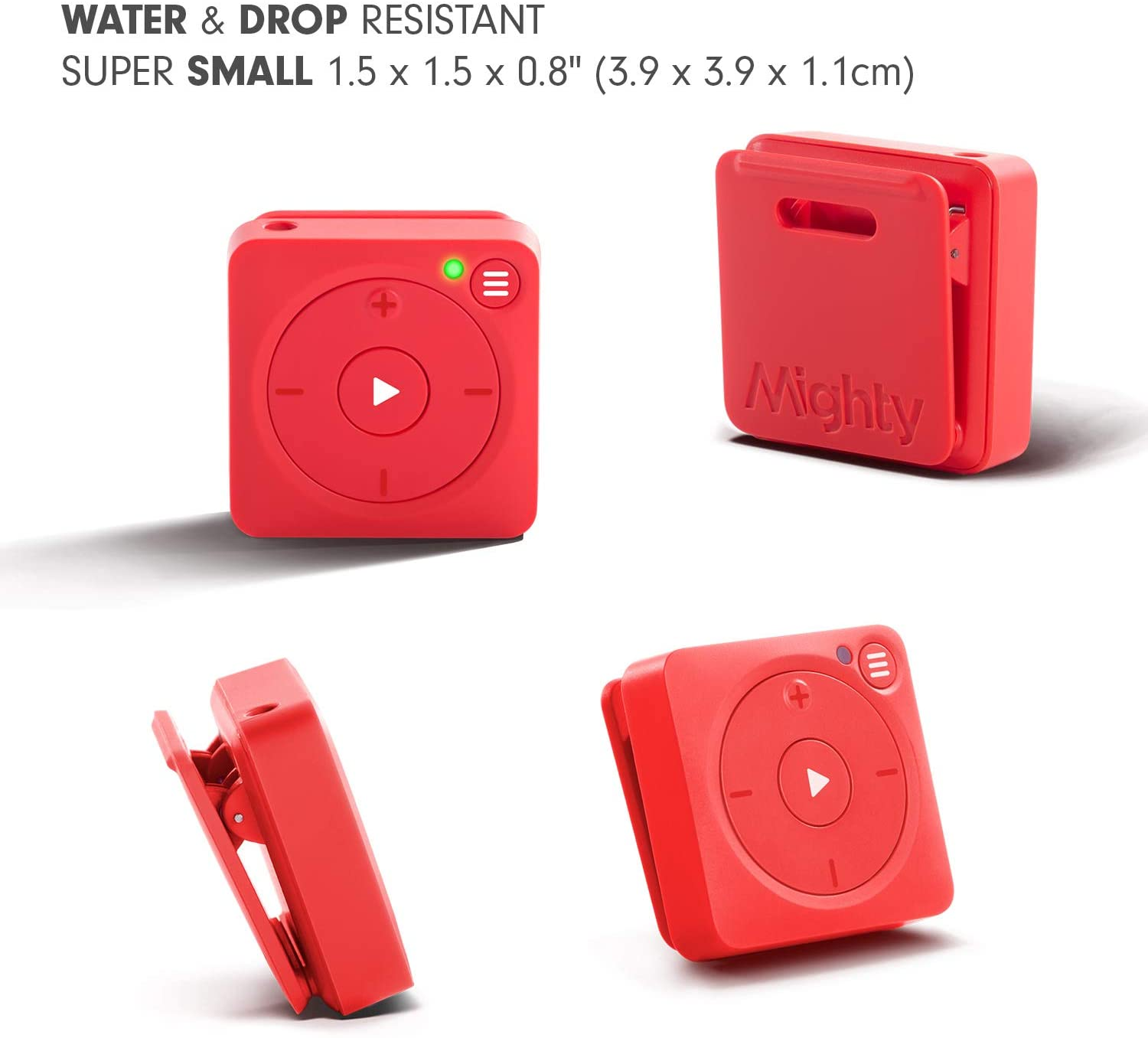 Bluetooth /& Wired Headphones Mighty Vibe Spotify Music Player Mooshu Red No Phone Needed 8GB Storage