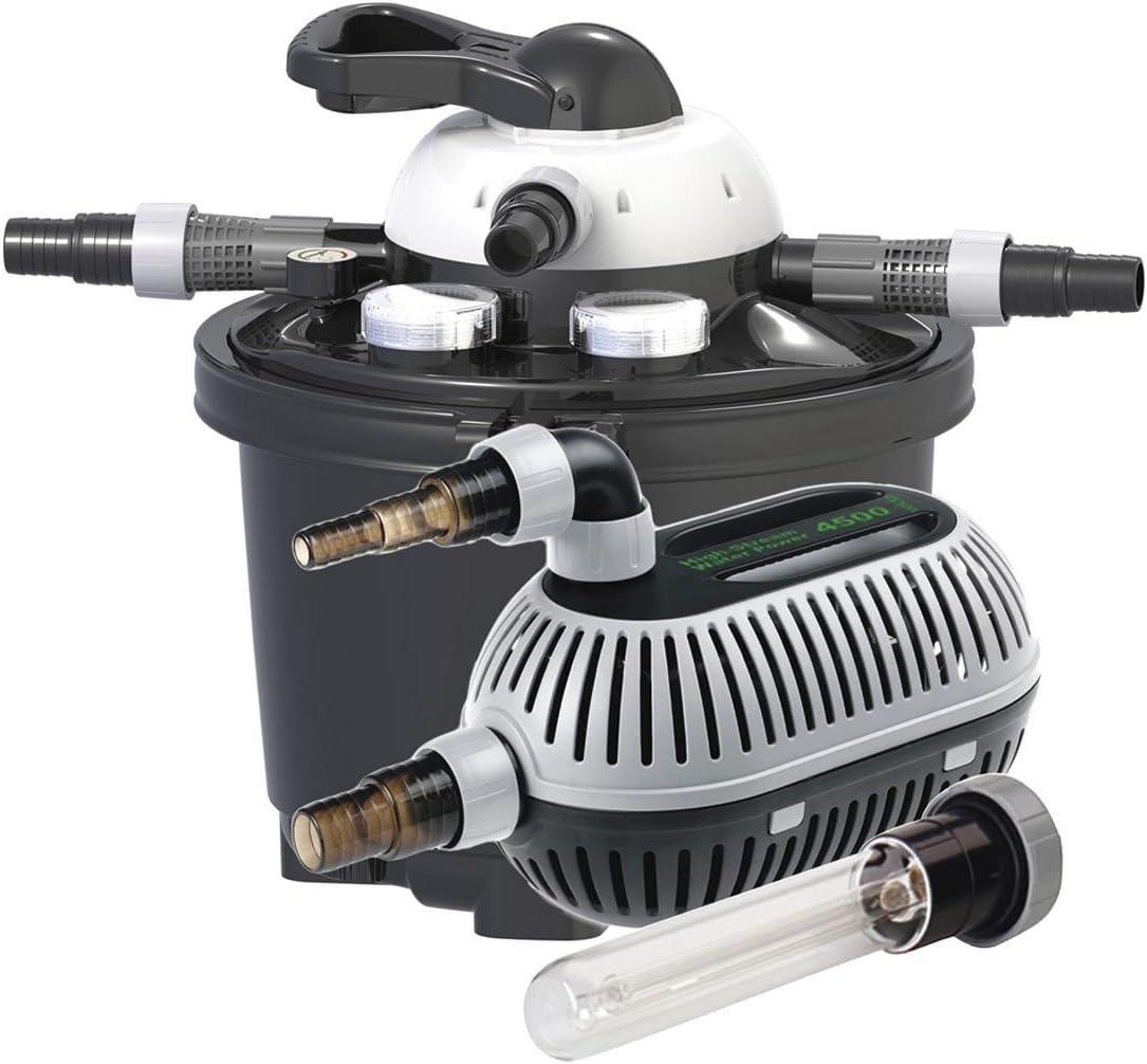Clear Control Set velda 126311/Filtre sous Pression Kit Complet pour Bassin jusqu/à 10/000/l Pompe 9/W UV C
