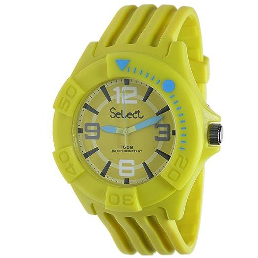 Select Tc-30-08 Reloj Analogico Unisex Caja De Resina Esfera Color Amarillo: Amazon.es: Relojes