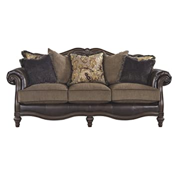 Signature Design by Ashley - Winnsboro Traditional Style Faux Leather Sofa - 7 Back Pillows, Vintage Brown