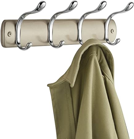 MetroDecor mDesign attaccapanni 8 Ganci per Appendere Il Guardaroba Colore: Cromo Asciugamani Organizer Cappotti Ideale Mobile Ingresso Accappatoi Appendiabiti per Porte Bagno e corridoio