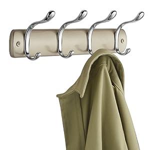 mDesign Support à crochets en acier – portemanteau mural avec 8 crochets pour accrocher manteaux, écharpes, serviettes – accessoire de rangement pour couloir et salle de bain – perle champagne