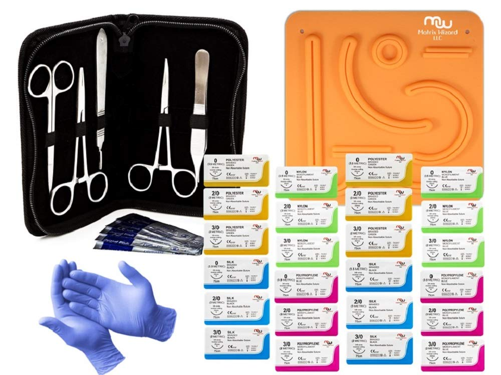 Suture Threads with Needle + Tools for Medical