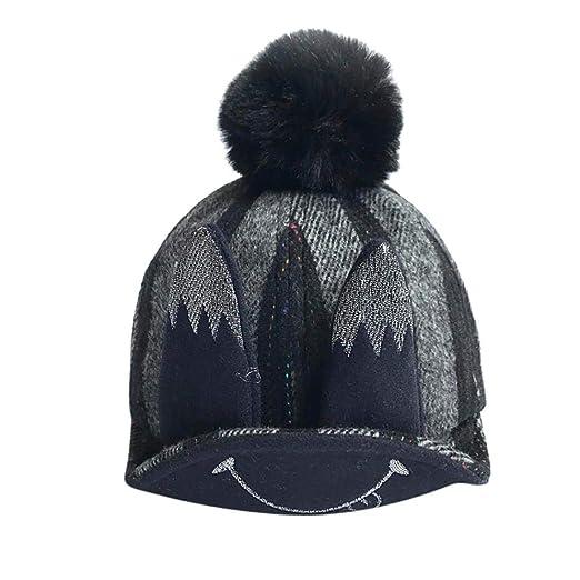 0f6e5d17037 Baby Winter Warm Knit Hat Crochet Cute Cartoon Beanie Skiing Cap+Rabbit  Ears (Black