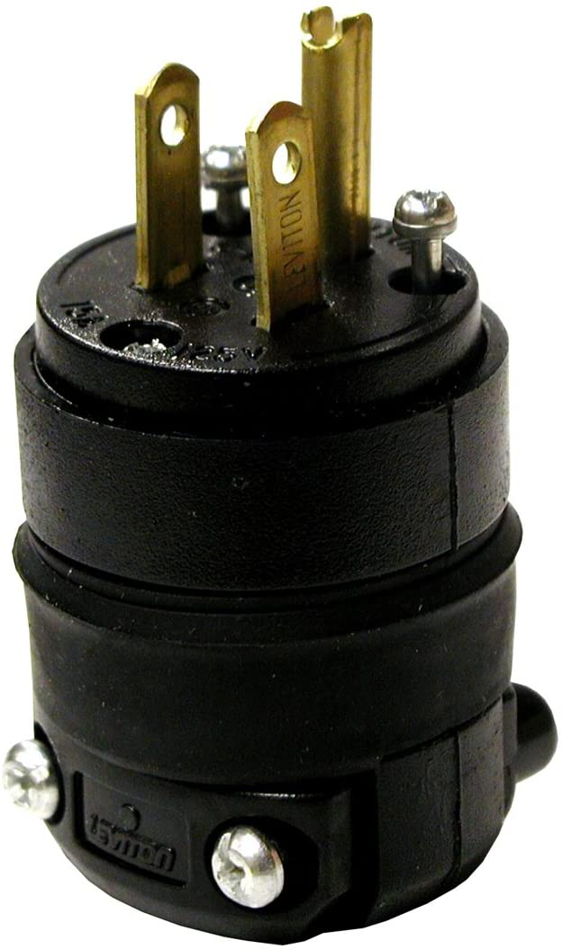 NEMA 1-15 2W Non-Grounding Yellow Leviton 59W04 15 Amp 2P 125 Volt Wetguard Industrial Grade Straight Blade Single Inlet