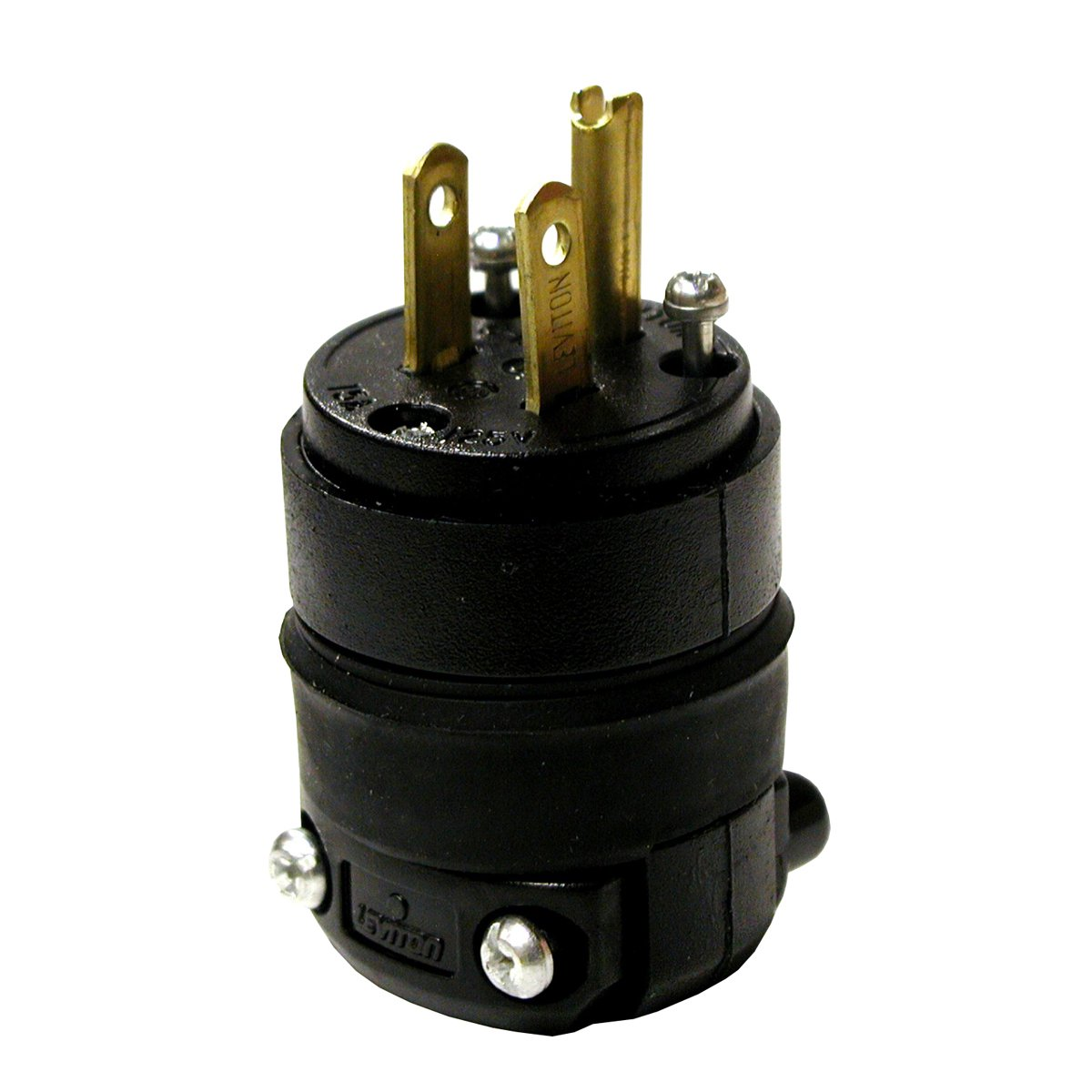 Leviton 515PR 15 Amp 125 Volt, Straight Blade Rubber Plug, NEMA 5-15P, Black