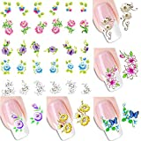 #5: 12 Sheets 280 Different Design Nail Art Stickers Decals DIY Decorations Water Transfer Nail Tips Manicure Craft Gift for Women Teen Girl (LHOSET003A)