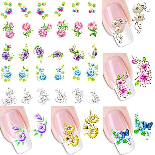 12 Sheets 280 Different Design Nail Art Stickers Decals DIY Decorations Water Transfer Nail Tips Manicure Craft Gift for Women Teen Girl -