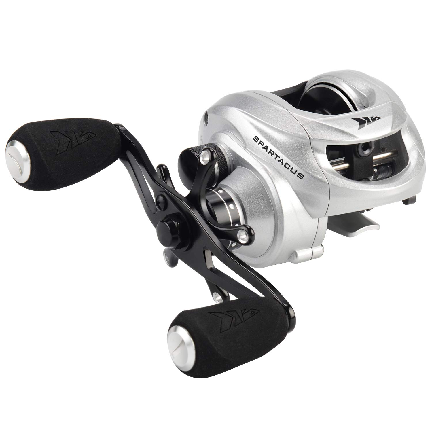 KastKing Spartacus Baitcasting Fishing Reel Ultra Smooth 17.5 LB Carbon Fiber Drag, 6.3:1 Gear Ratio,11 + 1 Shielded Ball Bearings, Rubber Cork Handle Knobs (B:Sword Silver: Right Handed Reel)
