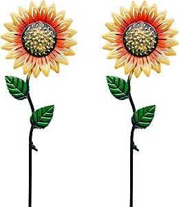 udensep Garden Stakes Decorative Metal Flowers Outdoor 2 Pieces Waterproof Sunflower Garden Stake for Yard Patio Lawn Decor