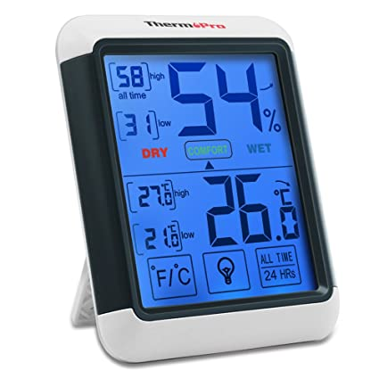 bf74db2b7 ThermoPro TP55 Termómetro Higrómetro de Interior para Casa Ambiente Medidor  de Temperatura y Humedad Digital Termohigrómetro