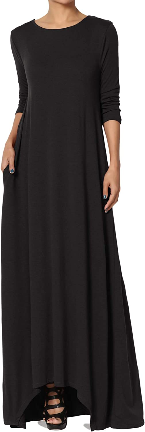 TheMogan S~3X 3/4 Sleeve Loose Plain Curved Split Hem Long Maxi Dress w Pocket