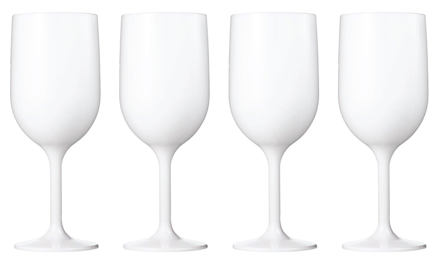 Drinique VIN-WG-WHT-4 Stemmed Wine Glass Unbreakable Tritan Stemware, 12 oz (Set of 4), White