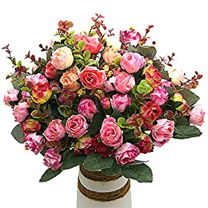 Grunyia Artificial Fake Flowers Silk Tiny Rose Flowers Wedding Bridal Bouquet Home Decoration,(Pack of 4, Pink) 53