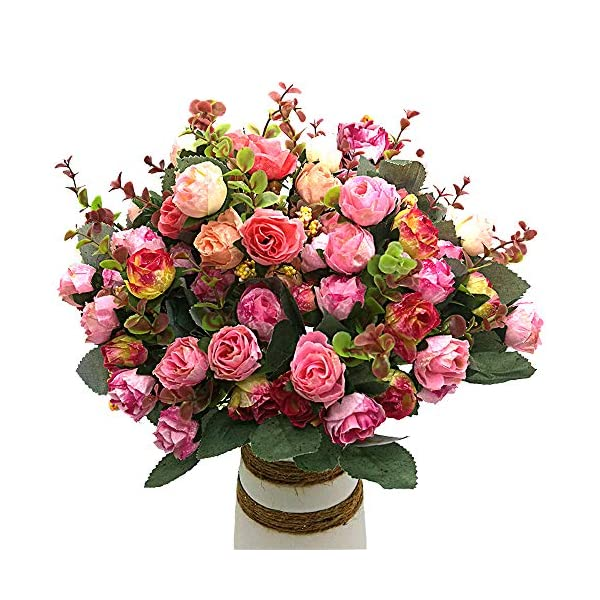 Grunyia Artificial Fake Flowers Silk Tiny Rose Flowers Wedding Bridal Bouquet Home Decoration,(Pack of 4, Pink)