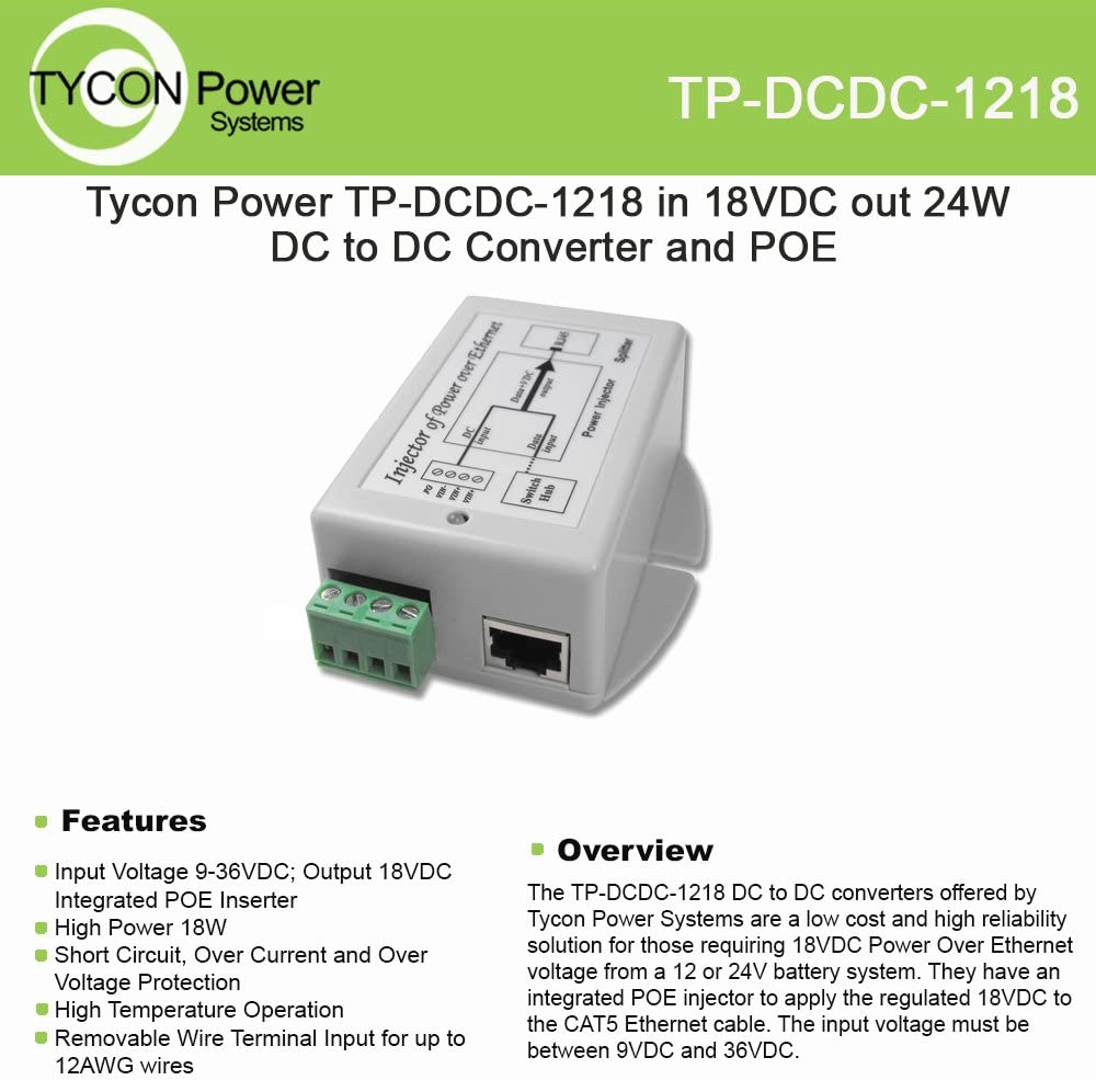 Tycon Systems TP-DCDC-1218 18V POE Out 18W DC to DC Converter and POE Inserter