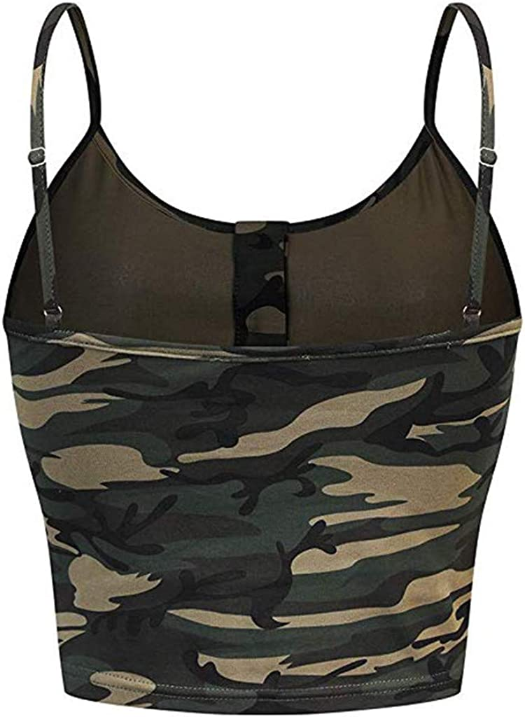 Rockia Tank Tops for Women Sleeveless O-Neck Button Up Casual Camouflage Print Vest Cami Tank Top Blouses