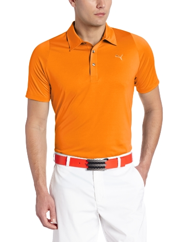 Puma Golf NA Men's Duo Swing Polo Shirt, Vibrant Orange, Large
