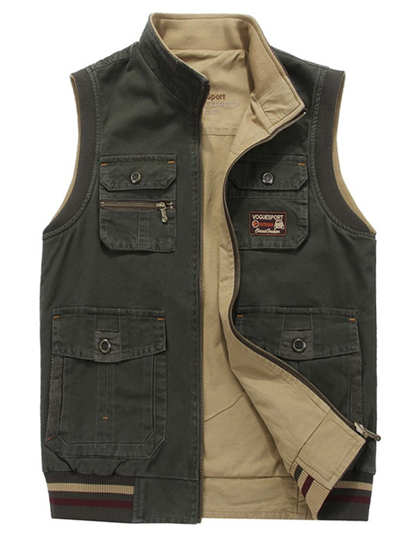 Gihuo Men's Reversible Cotton Leisure Outdoor Pockets Fish Photo Journalist Vest (Large, Army Green#8523)