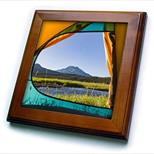 3dRose View from Tent, South Sister, Sparks Lake, Eastern Oregon - Framed Tiles (ft_332017_1)