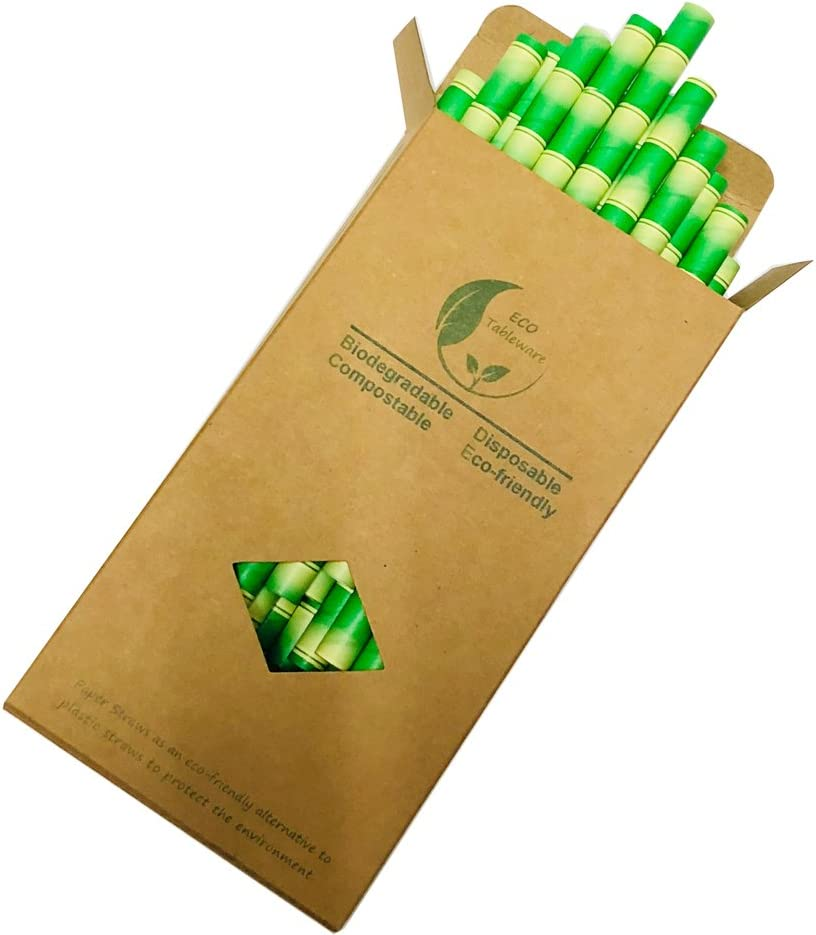 fantasia bamb/ù 32 pezzi Cannucce di carta per frullati e milkshakes extra larghe da 10/mm