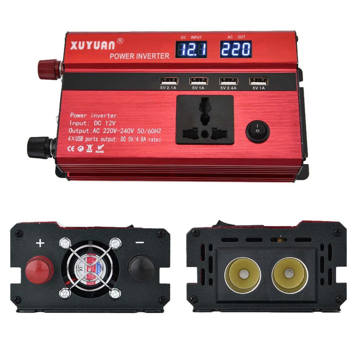 DEALPEAK 3000W/4000W/5000W Car Power Inverter DC 12V To AC 110V/220V Sine Wave Converter with Digital Display 4 USB Ports (Style : 220v/3000W)