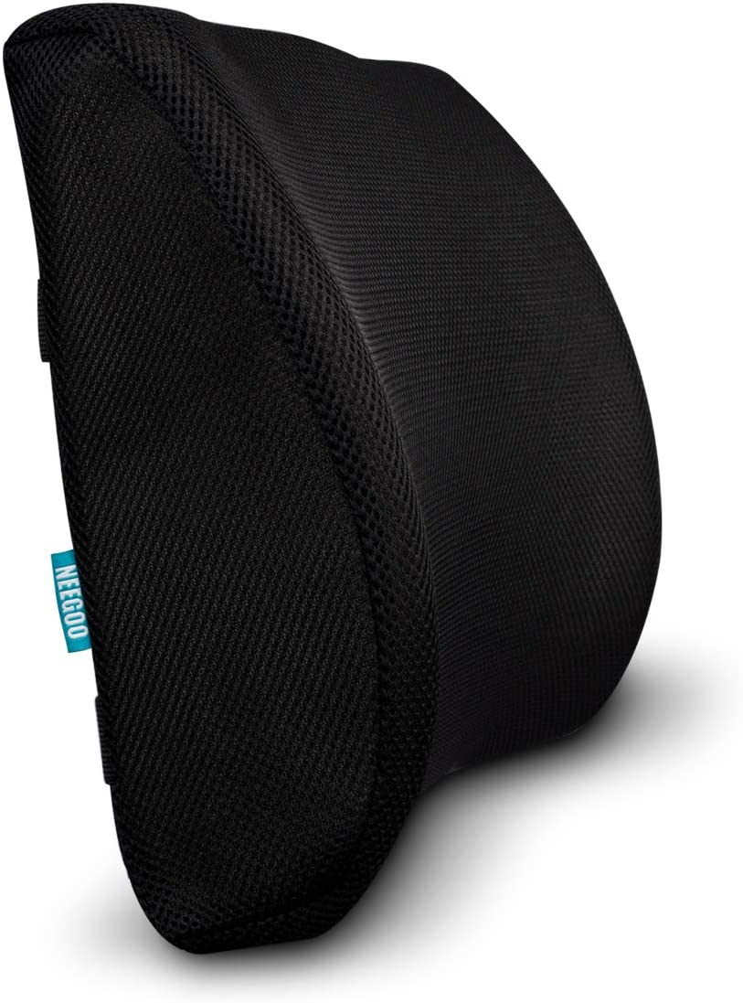 NEEGOO Back Cushion-Lumbar Support, Comfortable Memory Foam with Adjustable Strap and Breathable Mesh Fabric, Lower Back Pain Relief, Suitable for Car Seat, Office Computer Chair and Wheelchair