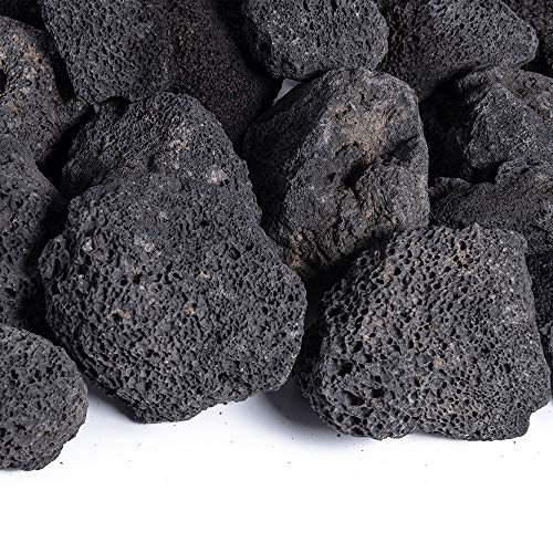 Black 3-5 Inch Lava Rock | Fireproof and Heatproof Volcanic Lava Rock, Perfect for Fire Pits, Fireplaces, BBQs and More. Indoor and Outdoor use - Natural Stones | 10 Pounds