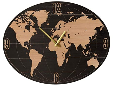 Amazon Com Midwest Cbk Small Oval World Map Wall Clock Home Kitchen