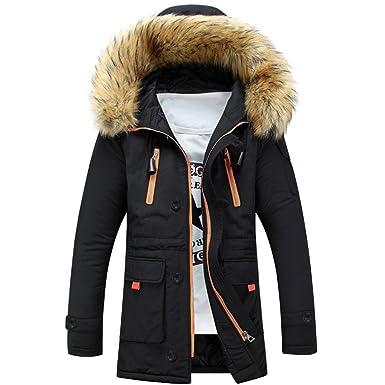 Sun Lorence Men Lengthened Fur Hooded Down Coats Heavy Parka Winter Jackets  Black XXS