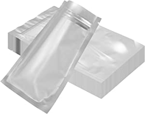 100-pack resealable mylar bags for food storage smell proof packaging bag aluminum foil pouch for sample tea food |flat|heat sealing|long&short term storage (6.30''x9.44'')