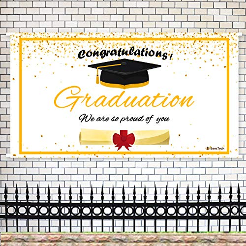 Beestech Grad Graduation Party Banner, 2019 Congrats Grad Banner、 Graduation Party Supplies & Decorations & Favors, Graduation Backdrop Photograph, Photo Booth(Black and Gold) ()