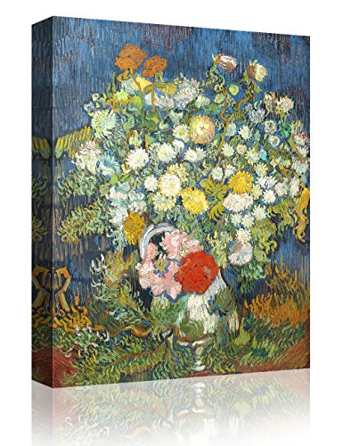 IPIC - Bouquet of Flowers in a Vase, Vincent Van Gogh Art Reproduction. Giclee Canvas Prints Wall Art for Home Decor - Vase Gogh Van Vincent