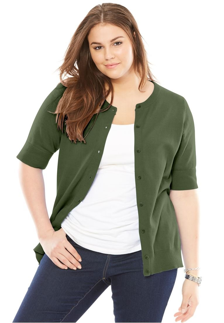 Women's Plus Size Perfect Elbow-Length Sleeve Cardigan