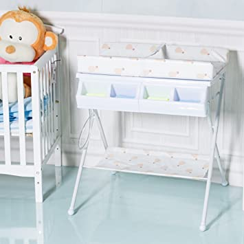 Costway 2 IN 1 Folding Baby Changing Table Portable Padded Storage Bath Tub  Unit Dresser (