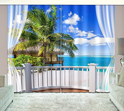 LB Teen Kids Room Décor Fascinating Beach Scenery Window Curtains,Green Palm and Blue Sky 3D Window Treatment Living Room Bedroom Window Drapes 2 Panels Set,104W x 96L Inches