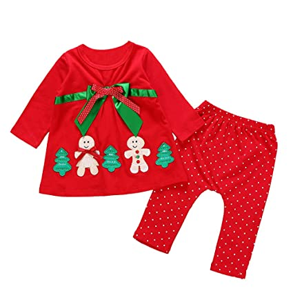 b5fdab4d57ec Amazon.com  Iuhan Baby Girls Outfit Set Christmas for 1-4Years Kids ...