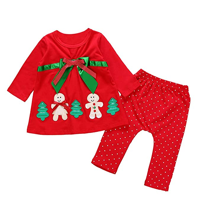 Natale Neonato Vestiti Baby Set ASHOP Vestito Ragazzo Bambino Pupazzo di  Neve Manica Lunga per Bambini Christmas Print Top + Pantaloni a Pois Rosso  12 Mesi ... 7cb55fc6c376