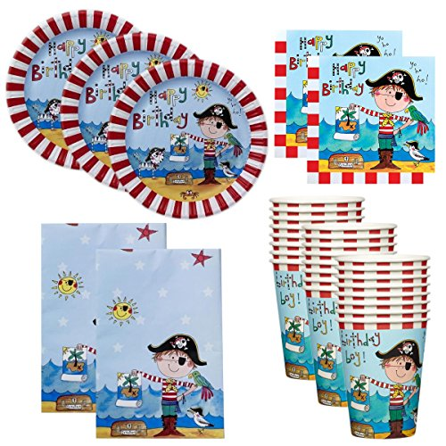 90pc Kids Birthday Party Supplies Set Cups Plates Napkins Table Cover Boys Girls - Pirate Themed Party Supplies