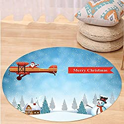 VROSELV Custom carpetChristmas Decorations Collection Santa in a Plane with Merry Xmas Banner Flying over Forest with Snowman Jolly Season Bedroom Living Room Dorm Blue Round 47 inches