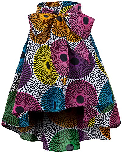 Print African Clothing - Shenbolen Women African Traditional Costume Flower Print Casual Dashiki Skirt (Small,F)