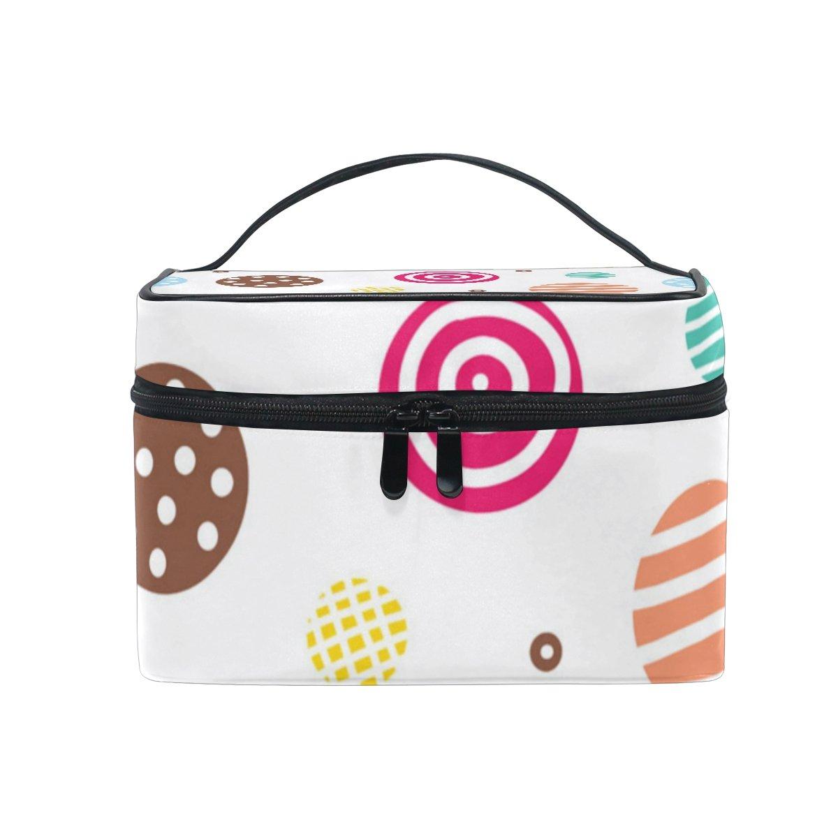 ALAZA Sac cosmétique mignon Cercle coloré avec rayures et Dot Makeup Case Voyage Organisateur de stockage