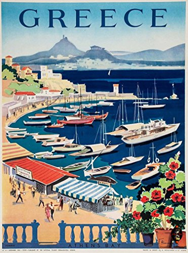 (A SLICE IN TIME Greece Greek Island Isle Isles Athen's Bay Europe European Vintage Travel Advertisement Art Wall Decor Poster Print. 10 x 13.5 inches )
