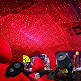 GBAuto USB Car Interior Lights LED Decorative armrest Box car roof Full Star Projection Laser,Romantic Auto Roof Star led,The interiors Multiple Modes Lights for car/Home/Party - Red-Starry Sky
