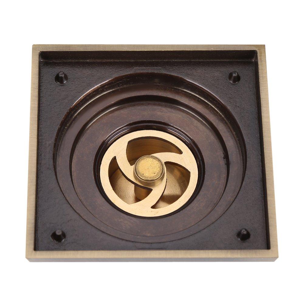 Filtre de Douche Drain de Plancher dDouche Evier Carr/é en Laiton Antique Fleur de Drain Sculpt/é de la Grille de la Salle de Bains