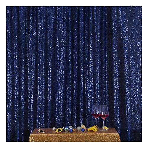 3e Home 4FT x 6FT Sequin Photography Backdrop Curtain for Party Decoration, Navy Blue