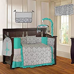 BabyFad Damask Turquoise Unisex 10 Piece Baby Crib Bedding Set